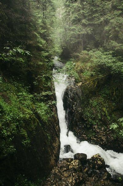 Jungle mountain waterfall
