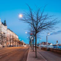 Helsinki, Finland. Night Traffic In Pohjoisranta Street In Night
