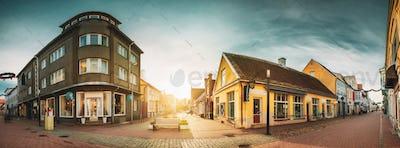 Parnu, Estonia. Old Houses in Historical Ruutli Street