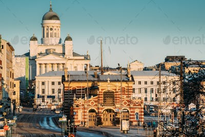 Finland, Helsinki. View Of Helsinki Cathedral And Old Market Hal