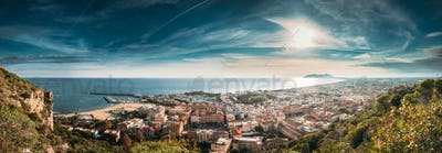Terracina, Italy. Top View Of Terracina And Tyrrhenian Sea In Su
