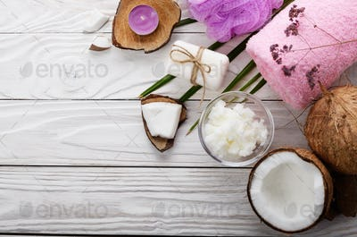 Flat lay Body care Coconut oil soap and candle set on white tabl