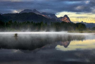 Beautiful Geroldsee lake during foggy morning