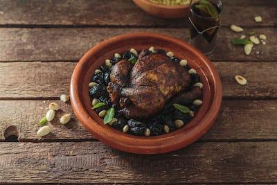 Whole chicken tajine, moroccan food, close view