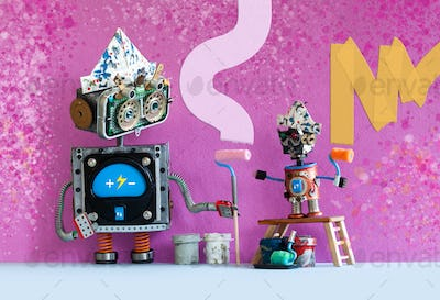 Decorators robots repaints the wall of the room. Funny painters robotic toys