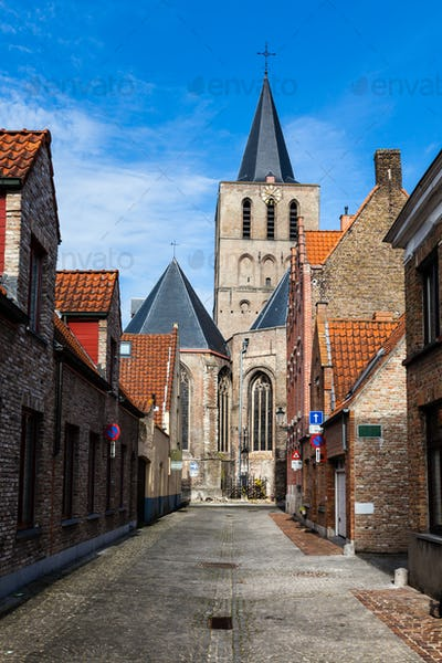 Street in Bruges (Brugge), Belgium, Europe