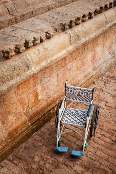 Public wheelchair. Brihadishwarar Temple entrance, Thanjavur