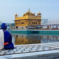 Unidentifiable Seekh Nihang warrior meditating at Sikh temple Ha