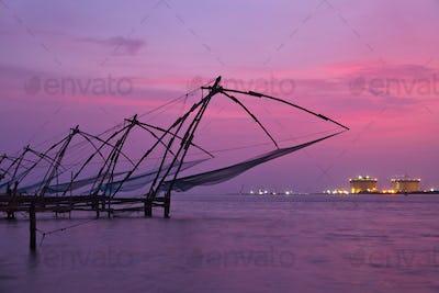 Chinese fishnets on sunset. Kochi, Kerala, India