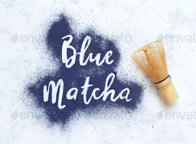 Butterfly pea powder blue matcha word
