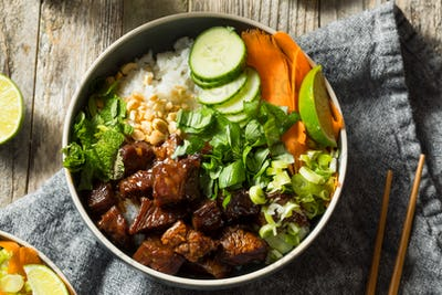 Homemade Thai Beef and Rice Bowl