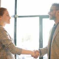 Greeting by handshake