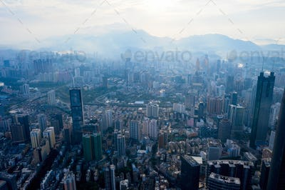 Drone aerial photo of the city