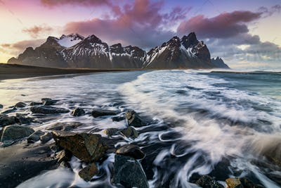 Sunset at Vestrahorn Mountain and Stokksnes beach. Iceland