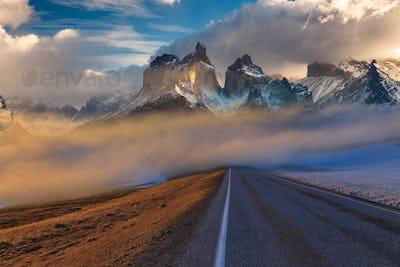 Majestic mountain landscape. National Park Torres del Paine, Chile.