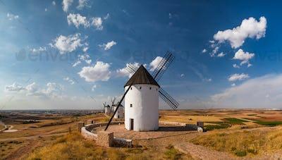 Windmills at sunset in Consuegra, Castile-La Mancha, Spain