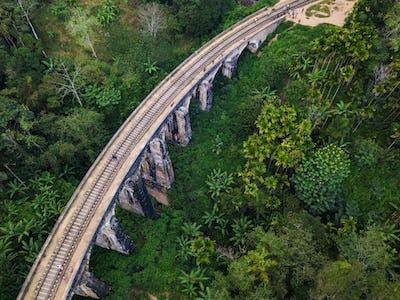 Aerial view of Nine Arches Bridge in Ella, Sri Lanka. Drone photo