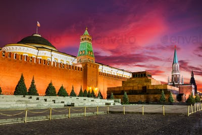 Sunset at Red Square, Moscow Kremlin and Lenin mausoleum, Moscow, Russia