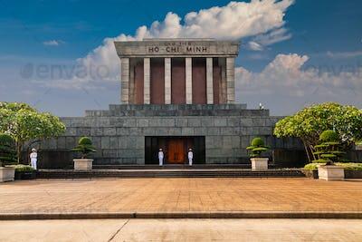 Ho Chi Minh Mausoleum in Hanoi, Vietnam in a summer day