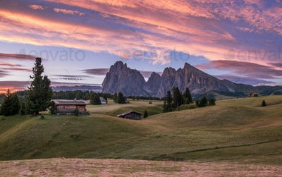 Beautiful summer day in the Dolomites mountains on the meadows