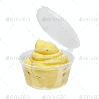 Mayonnaise sauce container isolated