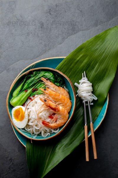 Asian Rice Noodles With Shrimps and Pos Choy Cabbage