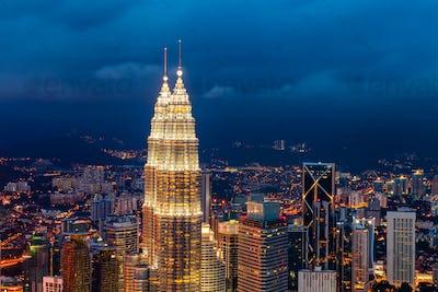 The Petronas Towers, twin skyscrapers in Kuala Lumpur, Malaysia.