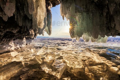 view from the ice grotto at sunrise, lake Baikal