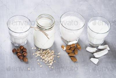 Vegan non dairy alternative milk top view