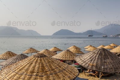 Picturesque view of the sea and mountain on the shore. Marmaris. Turkey