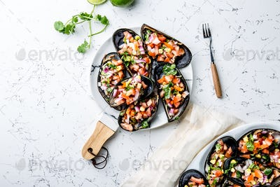 Peruvian Dish. Choros a La Chalaca. Mussels with Tomatoes, Onion and Cilantro