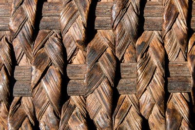 Natural braided rattan texture background. Top view. Flat lay.