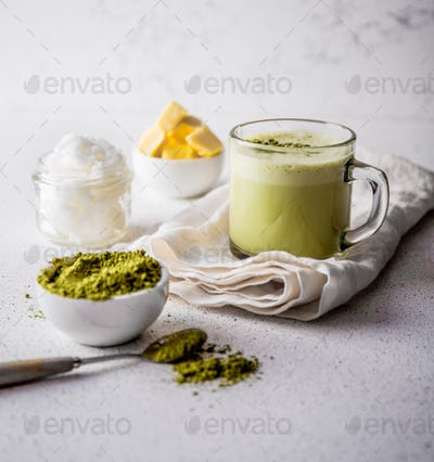 Bulletproof Matcha. Ketogenic Keto Diet Hot Drink. Tea Matcha Blended with Coconut Oil and Butter