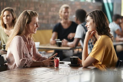 Two Female Friends Sitting At Table In Coffee Shop And Talking