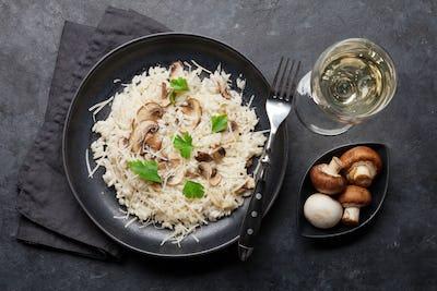 Delicious mushrooms risotto