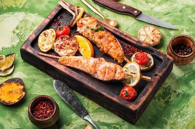 Grilled salmon on skewer