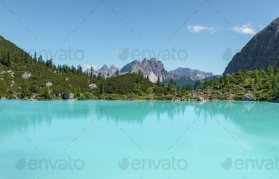 Summer in the Dolomites mountains landscape on a sunny day