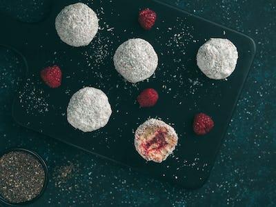 Raw lamington bliss balls with raspberries chia jam
