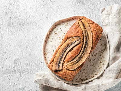 Low-fat banana bread, copy space, top view