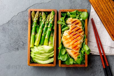 Healthy Lunch in Wooden Japanese Bento Box