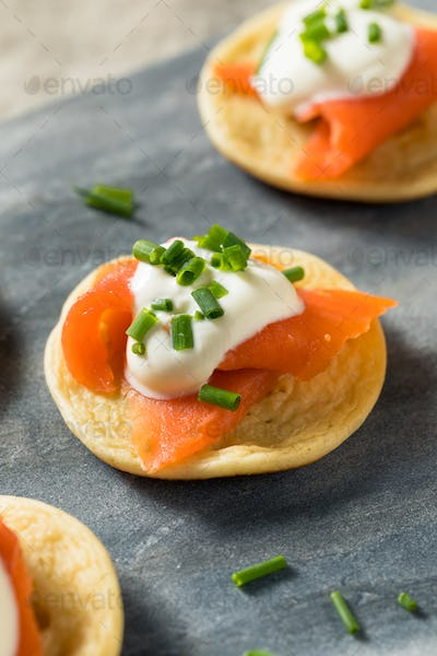 Homemade Smoked Salmon Cocktail Blinis