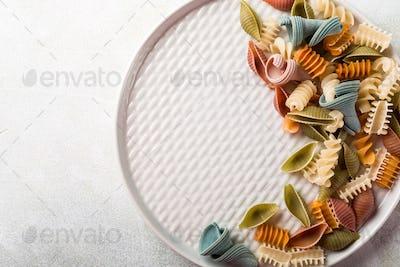 raw spelt flour assorted colorful pasta