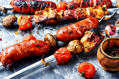 Shish kebab with mushrooms