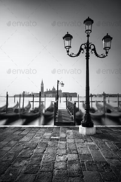 Gondolas near Saint Mark square with San Giorgio di Maggiore church, Venice, Italy, Europe