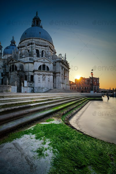 The Grand Canal and Basilica Santa Maria della Salute during sunset, Venice, Italy