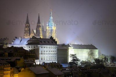 Saint Vitus Cathedral. Snowy atmosphere during winter night. Unesco, Prague, Czech republic