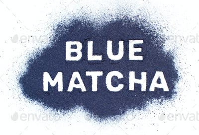 Butterfly pea blue matcha powder word top view