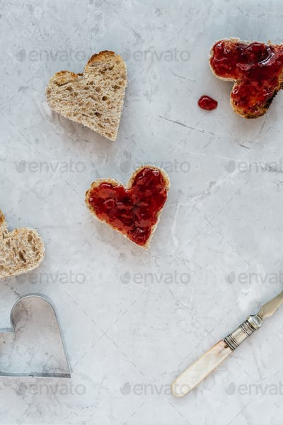 Making Heart Shaped Toast with Jam