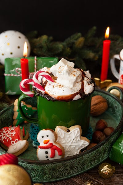 Hot chocolate and Christmas cookies