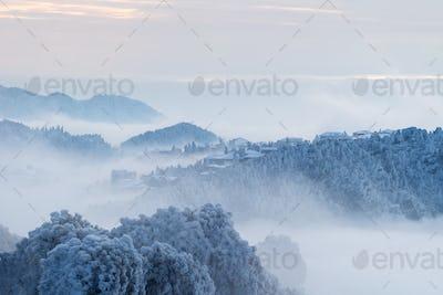 winter scenery in lushan mountain